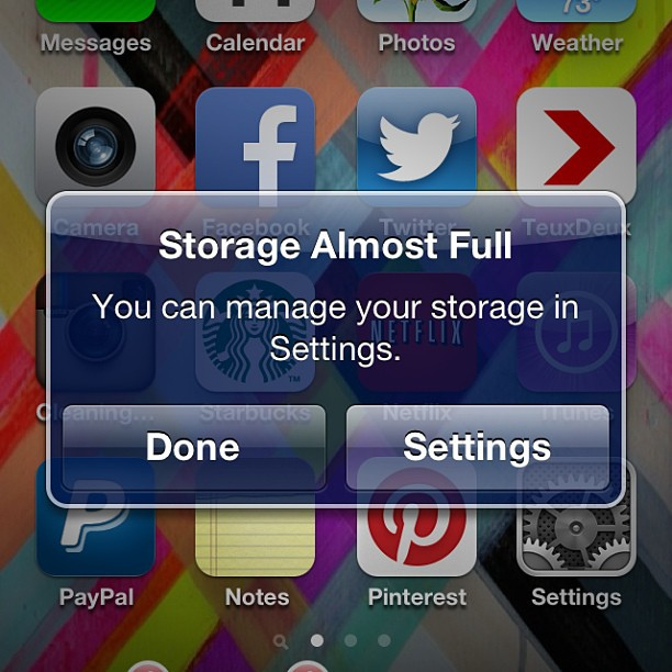 Storage Almost Full And Vine For Iphone